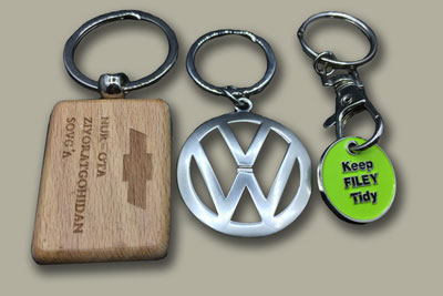 keychains wood or metal